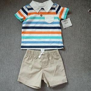 NWT Carter's polo shirt and khaki shorts 2-pieces